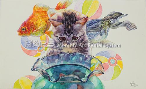 猫と金魚画像